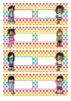 Naamkaartjes  meisjes  blanco  -  Polka  dots  multi