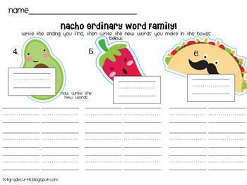 Nacho Ordinary Word Family Workstation!