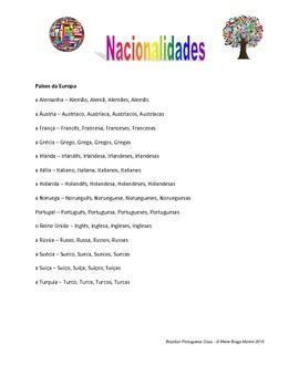 Nacionalidades - Nationalities