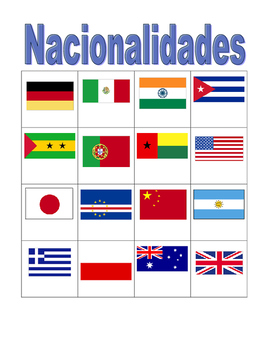Nacionalidades (Nationalities in Portuguese) Bingo game