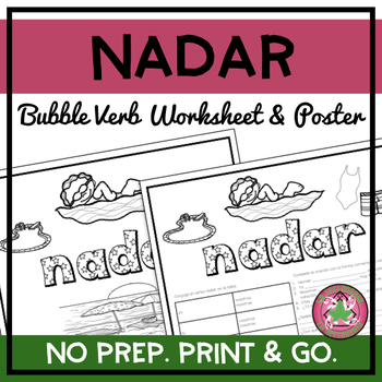 Nadar Bubble Verb Worksheet and Poster