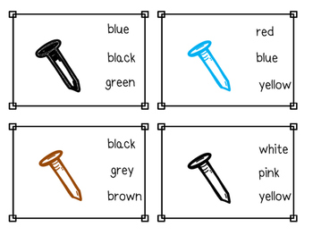 Nail Color Sight Word Clip Cards