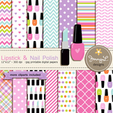 Nail Polish and Lipstick digital paper and clipart