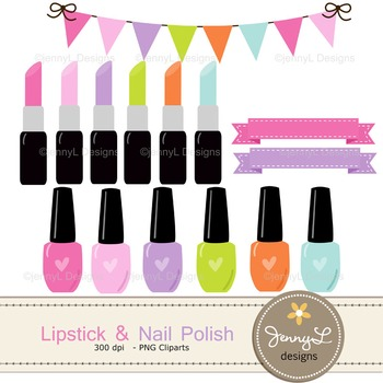 Nail Polish and Lipstick digital paper and clipart
