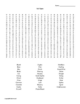 Nail Types Vocabulary Word Search for an Agriculture Structures Class