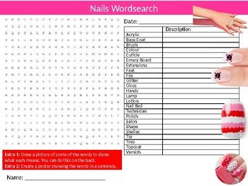Nails Wordsearch Puzzle Sheet Activity Keywords Fingernails Beauty