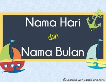 Nama Hari dan Bulan (days and months in Indonesian - pocket chart and sorting)