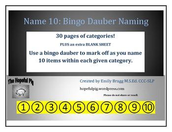 Name 10: Bingo Dauber Expressive Naming/Categories Activity