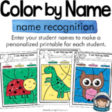 Editable Name Activity Color by Code Printables