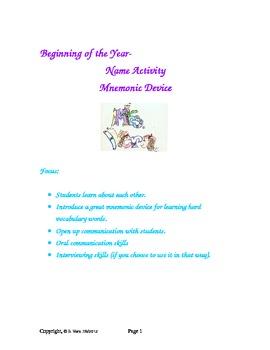 Name Activity to teach Mnemonic