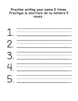 Name & Alphabet Writing Practice: English and Spanish
