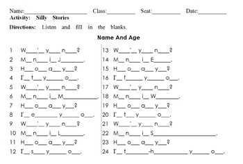 Name And Age: Listening Dictation & Silly Story For Names and Ages