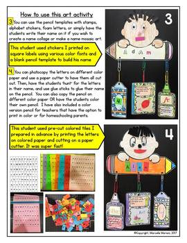 Name Art Activity- Back to School Fun with Names- Name Mobile Art