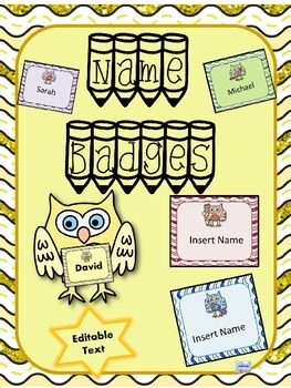Name Badges Editable Owl Theme