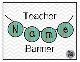 Name Banner All Teal Wood