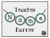 Name Banner Teal Wood