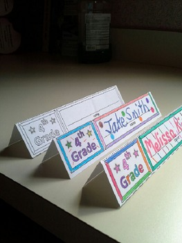 Name Cards Fifth Grade (Foldable and Standable)