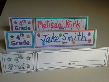 Name Cards Fourth Grade (Foldable and Standable)