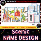 First Week of Art: Name Design with Landscape Scene-  Art Folder Design!