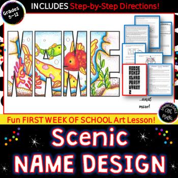 First Week of Art: Name Design with Landscape Scene-  Art
