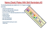 Name (Desk) Plates With Skill Reminders #3
