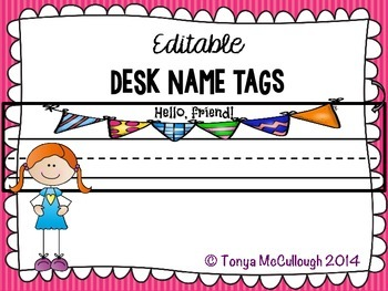 Name Desk Tags/Tents ~ Editable ~ FREE!