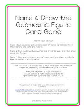 Name & Draw the Geometric Figure Card Game-Common Core Aligned