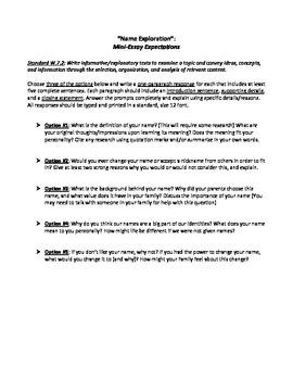 Name Essay Assignment