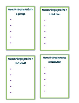 Name Five Game - Writing/Literacy
