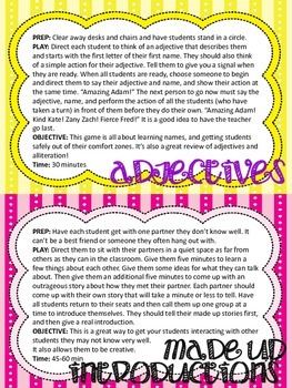Name Games and Introduction Back to School Activities