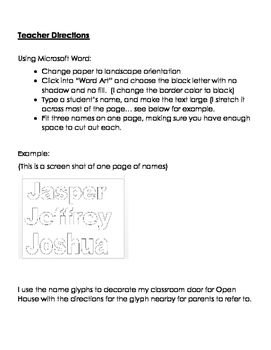 Name Glyph - First Day of School Activity