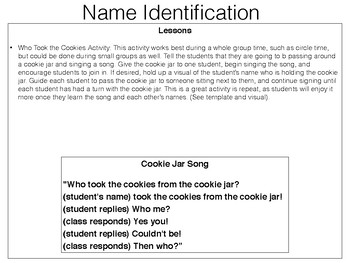 Name Identification Lesson Plans, Visuals, Printables, and Resources