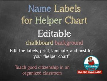 Name Label Template- Helper's Chart etc. -Editable