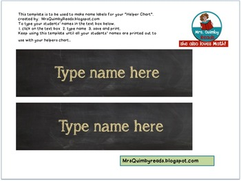 Name Label Template- Helper's Chart etc. -Editable