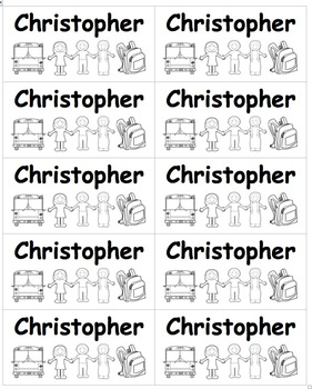 Name Labels B&W  Save Ink Editable: Type Names-Comic Sans Font
