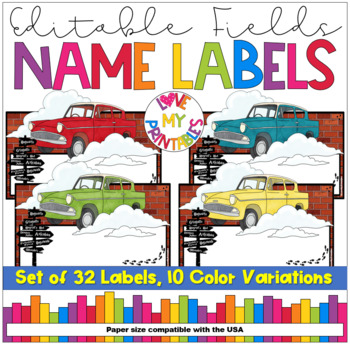 Name Labels | Editable | Wizards Flying Cars | USA Compatible