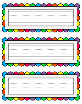 Name Labels - Rainbow Scallop Border with Dotted Thirds