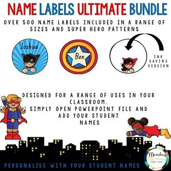 Name Labels Superhero Ultimate Bundle - Editable and Personalised Templates