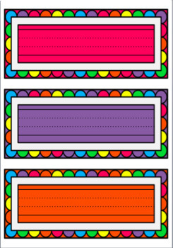 Name Labels/Tags with Coloured Backgrounds and Dotted Thirds