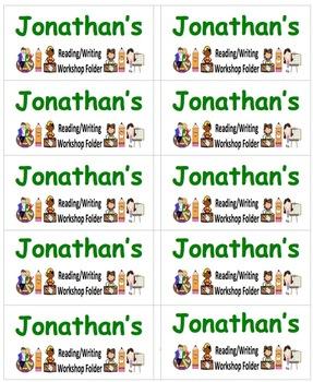 Name Labels for Reading/Writing Workshop Folder-Type in Names - Comic Sans Font