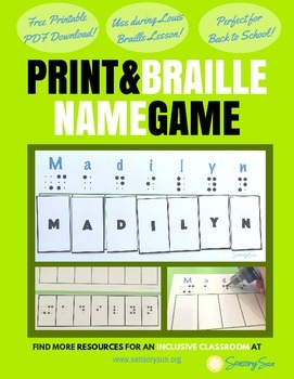 Matching Name Game with Print & Braille