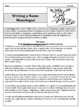 Name Monologue Writing Activity