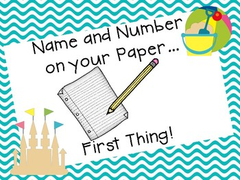 Name & Number Reminder Poster-Beach Theme