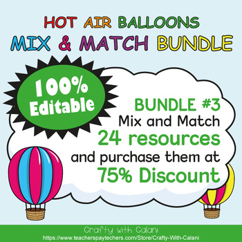 Name Plate Labels in Hot Air Balloons Theme - 100% Editable