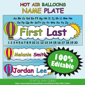 Name Plate & Chair's Tag Editable Labels in Hot Air Balloo