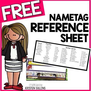 Name Plate Cheat Sheet Freebie