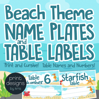 Name Plate Labels and Table Labels in Numbers and Names in Beach Theme