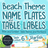 Name Plate Labels and Table Labels in Numbers and Names in