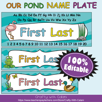 Name Plate Labels in Our Pond Theme - 100% Editable