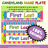 Name Plate Labels in Candy Land Theme - 100% Editable